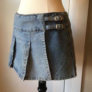 Guess Pleated Mini Skirt Wrap Denim Skirt